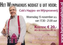 Cok's Kaas- en Wijnproeverij op woensdag 15 november 2017