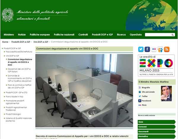 Het minsterie en de 'Commissioni degustazione di appello vini DOCG e DOC'