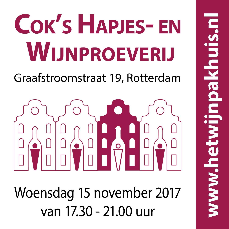 Kaartje voor Cok's Kaas- en Wijnproeverij op woensdag 15 november 2017