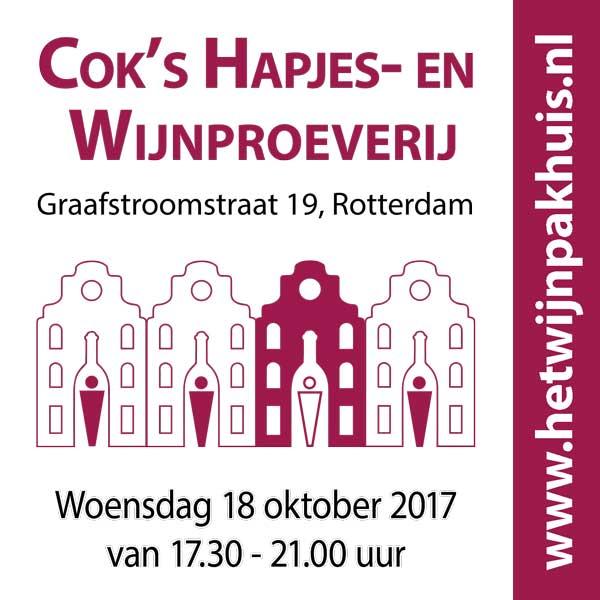 Kaartje voor Cok's Hapjes- en Wijnproeverij op woensdag 18 oktober 2017